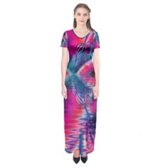 Cosmic Heart Of Fire, Abstract Crystal Palace Short Sleeve Maxi Dress by DianeClancy