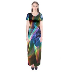 Aurora Ribbons, Abstract Rainbow Veils  Short Sleeve Maxi Dress by DianeClancy