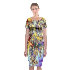 Desert Winds, Abstract Gold Purple Cactus  Classic Short Sleeve Midi Dress by DianeClancy