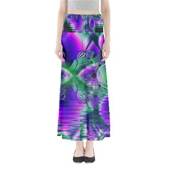 Evening Crystal Primrose, Abstract Night Flowers Maxi Skirts