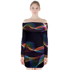 Fluted Cosmic Rafluted Cosmic Rainbow, Abstract Winds Long Sleeve Off Shoulder Dress