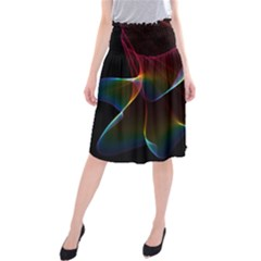 Imagine, Through The Abstract Rainbow Veil Midi Beach Skirt