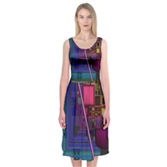 Jewel City, Radiant Rainbow Abstract Urban Midi Sleeveless Dress