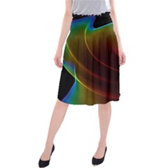 Liquid Rainbow, Abstract Wave Of Cosmic Energy  Midi Beach Skirt by DianeClancy