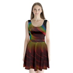Liquid Rainbow, Abstract Wave Of Cosmic Energy  Split Back Mini Dress  by DianeClancy