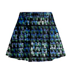 Looking Out At Night, Abstract Venture Adventure (venture Night Ii) Mini Flare Skirt by DianeClancy