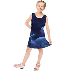The Music Of My Goddess, Abstract Cyan Mystery Planet Kids  Tunic Dress by DianeClancy
