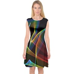 Peacock Symphony, Abstract Rainbow Music Capsleeve Midi Dress by DianeClancy