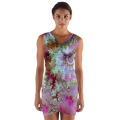 Raspberry Lime Delighraspberry Lime Delight, Abstract Ferris Wheel Wrap Front Bodycon Dress