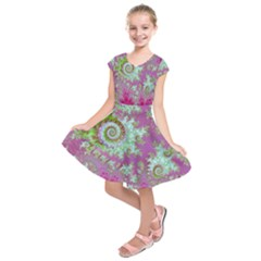 Raspberry Lime Surprise, Abstract Sea Garden  Kids  Short Sleeve Dress by DianeClancy