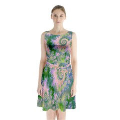 Rose Apple Green Dreams, Abstract Water Garden Sleeveless Chiffon Waist Tie Dress by DianeClancy