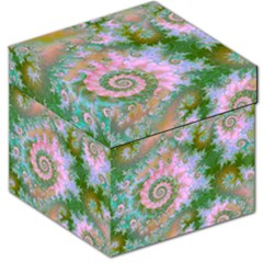 Rose Forest Green, Abstract Swirl Dance Storage Stool 12   by DianeClancy