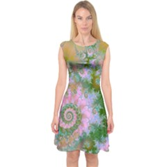 Rose Forest Green, Abstract Swirl Dance Capsleeve Midi Dress by DianeClancy