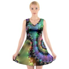 Satin Rainbow, Spiral Curves Through The Cosmos V-neck Sleeveless Skater Dress by DianeClancy