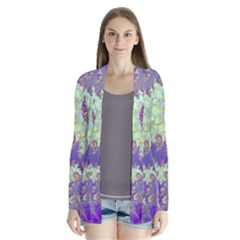 Sea Shell Spiral, Abstract Violet Cyan Stars Cardigans by DianeClancy