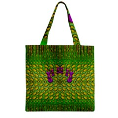 Flowers And Yoga In The Wind Zipper Grocery Tote Bag by pepitasart