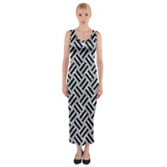 Woven2 Black Marble & Gray Marble (r) Fitted Maxi Dress by trendistuff