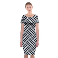 Woven2 Black Marble & Gray Marble (r) Classic Short Sleeve Midi Dress by trendistuff