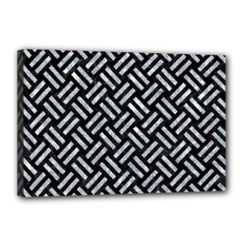 Woven2 Black Marble & Gray Marble Canvas 18  X 12  (stretched)