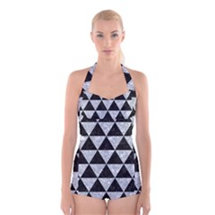 Triangle3 Black Marble & Gray Marble Boyleg Halter Swimsuit