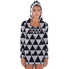 Triangle3 Black Marble & Gray Marble Long Sleeve Hooded T Shirt