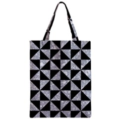 Triangle1 Black Marble & Gray Marble Zipper Classic Tote Bag by trendistuff