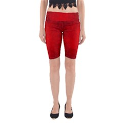 Decorative Red Christmas Background With Snowflakes Yoga Cropped Leggings