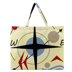 Compass 3 Zipper Large Tote Bag by Valentinaart