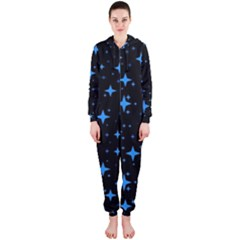 Bright Blue  Stars In Space Hooded Jumpsuit (ladies)  by Costasonlineshop
