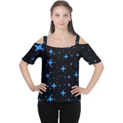 Bright Blue  Stars In Space Women s Cutout Shoulder Tee by Costasonlineshop