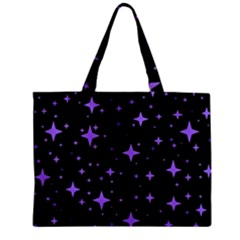 Bright Purple   Stars In Space Zipper Mini Tote Bag by Costasonlineshop