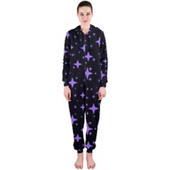 Bright Purple   Stars In Space Hooded Jumpsuit (ladies)  by Costasonlineshop