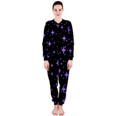 Bright Purple   Stars In Space Onepiece Jumpsuit (ladies)  by Costasonlineshop