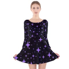 Bright Purple   Stars In Space Long Sleeve Velvet Skater Dress by Costasonlineshop