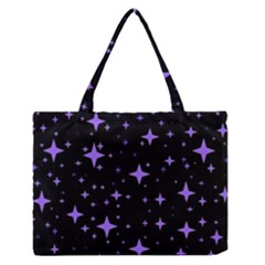 Bright Purple   Stars In Space Medium Zipper Tote Bag by Costasonlineshop