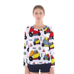 Toy Cars Pattern Women s Long Sleeve Tee by Valentinaart