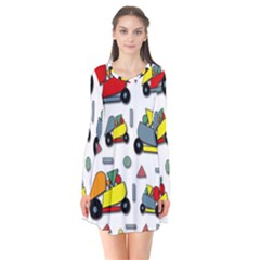 Toy Cars Pattern Flare Dress
