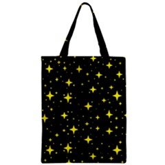 Bright Yellow   Stars In Space Zipper Classic Tote Bag by Costasonlineshop