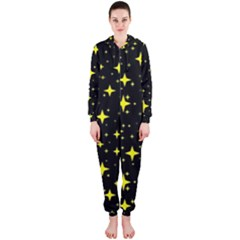 Bright Yellow   Stars In Space Hooded Jumpsuit (ladies)  by Costasonlineshop