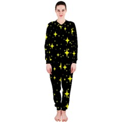 Bright Yellow   Stars In Space Onepiece Jumpsuit (ladies)  by Costasonlineshop