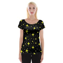 Bright Yellow   Stars In Space Women s Cap Sleeve Top by Costasonlineshop