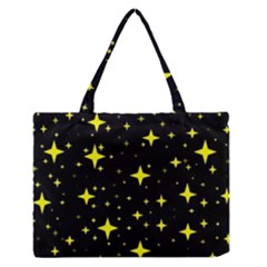Bright Yellow   Stars In Space Medium Zipper Tote Bag by Costasonlineshop