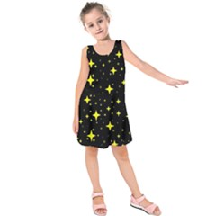 Bright Yellow   Stars In Space Kids  Sleeveless Dress by Costasonlineshop