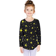 Bright Yellow   Stars In Space Kids  Long Sleeve Tee by Costasonlineshop