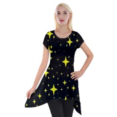 Bright Yellow   Stars In Space Short Sleeve Side Drop Tunic