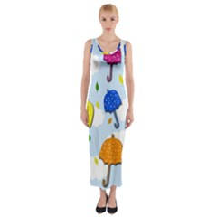 Umbrellas  Fitted Maxi Dress by Valentinaart