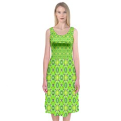 Vibrant Abstract Tropical Lime Foliage Lattice Midi Sleeveless Dress by DianeClancy