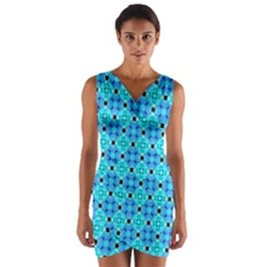Vibrant Modern Abstract Lattice Aqua Blue Quilt Wrap Front Bodycon Dress by DianeClancy