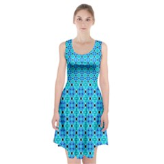 Vibrant Modern Abstract Lattice Aqua Blue Quilt Racerback Midi Dress