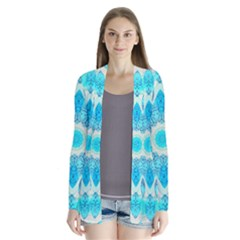 Blue Ice Goddess, Abstract Crystals Of Love Cardigans